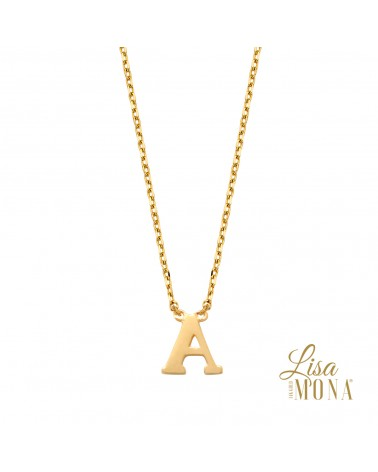 Collier lettre or jaune 14 carats - Lisa Mona