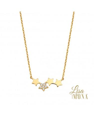 Collier étoiles or jaune 14 carats - Lisa Mona
