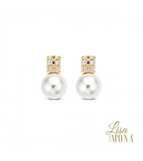 Boucles d'oreilles perles d'eau douce et or jaune 14 carats