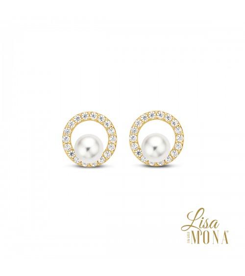 Boucles perles d'eau douce et or 14 carats