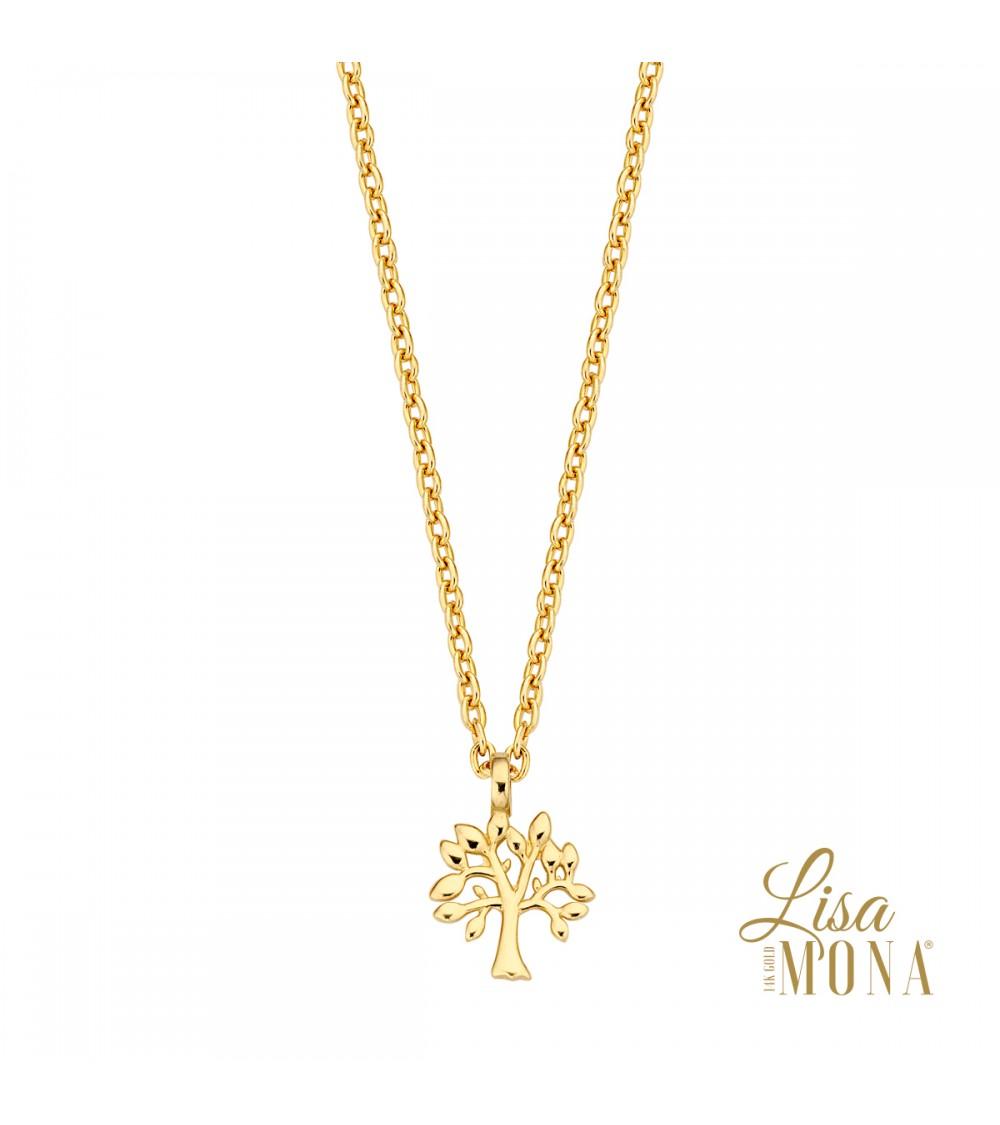 Collier  arbre de vie or jaune 14 carats