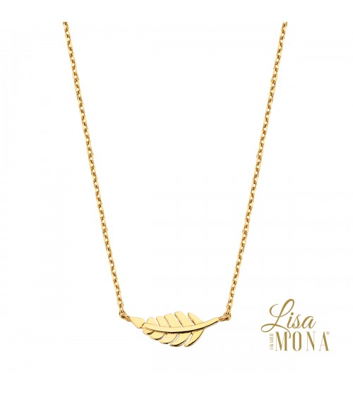 Collier feuille or jaune 14 carats - Lisa Mona