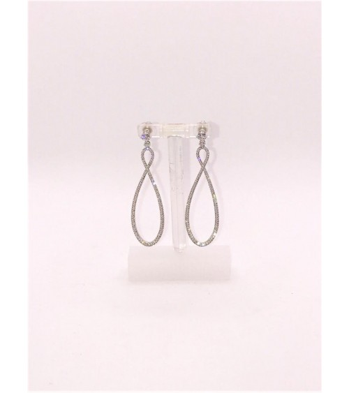 Boucles d'oreilles Métal Argenté - Swarovski - Collection Infinity